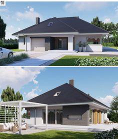 Wiesiołek 3G - wygodna parterówka z dużym garażem. Budynek posiada przestronne wnętrze z klarownym układem komunikacyjnym. Salon wyposażony jest w tarasy zarówno od strony salonu jak i jadalni. Dzięki takiemu rozwiązaniu dom można usytuować na działce o specyficznych wymaganiach, na przykład charakteryzującej się stosunkowo szerokim frontem i niewielką głębokością. Modern Family House, Design Case, Home Fashion, My House, House Plans, New Homes, Exterior, House Design, Contemporary
