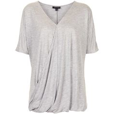 TOPSHOP Drape Wrap Front Tee ($15) ❤ liked on Polyvore featuring tops, t-shirts, topshop, grey marl, loose fit t shirts, drapey tee, draped t shirt, gray t shirt and loose fitting tops