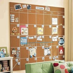 Cork board calendar. You can pin invites etc right on it! Okay when I get a house I'm gonna have this in a wall in my kitchen this is perfect