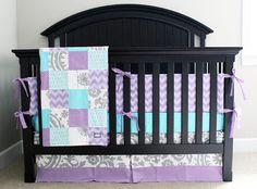 Custom baby bedding  Aqua Purple and Grey Crib by GiggleSixBaby. My baby girls color.