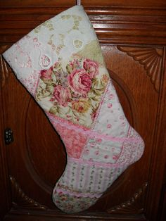 Christmas Stocking Shabby Rose Cottage Pink by chictreasures
