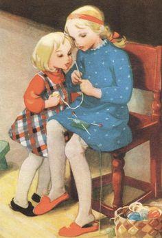 Martta Wendelin postcard (Finland) by katya. Vintage Cards, Vintage Postcards, Vintage Images, Happy Merry Christmas, Christmas 2019, Knit Art, Vintage Children, Vintage Sewing, Fiber Art
