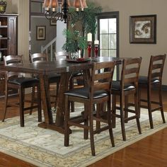 Emerald Home Castlegate 7 pc. Bar Height Table Set - Ideal for the traditional or country home, the Emerald Home Castlegate 7 pc. Bar Height Table Set exudes rustic charm. Sturdily crafted of solid p...