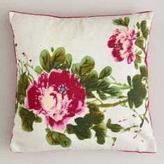 One of my favorite discoveries at WorldMarket.com: Watercolor Peony Throw Pillow