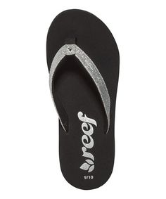 Take a look at this Black & Silver Little Krystal Star Flip-Flop by Reef on #zulily today!