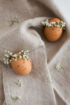 Floral Wreath Crowned Easter Eggs DIY - Flax & Twine.. A most perrrfect gift for me to make for my Teen this #Easter2014!! Just picked up a bunch of teeny fake flowers just like these from Thrift Store, for no reason:  THEN found this post!! Yippee!!