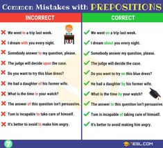 130+ Common MISTAKES With PREPOSITIONS And How To Avoid Them - 7 E S L