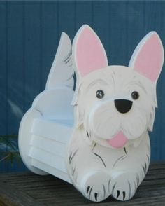 Whimsical,Fun and functional hanging or free standing planter boxes shaped like dogs and cats Planter Boxes, Planters, West Highland Terrier, Westies, Mailbox, Piggy Bank, Wood Projects, Whimsical, Unique Gifts