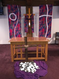 Lent 2015 at Berkeley United Methodist Church in Austin, Texas. The congregation was invited to lay their burdens at the foot of the cross.