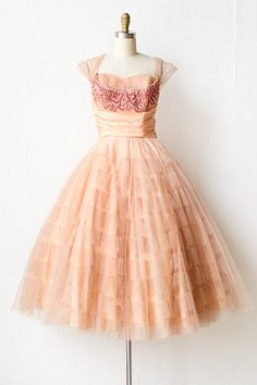 vintage 1950s peach tulle sequin prom dress | Pursuit of Bliss Dress