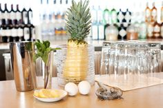 Some of the healthy, yummy ingredients included in the 'Jump Start Jetsetter' mocktail: Eggs, Fresh Pineappe, Fresh Ginger, Mint, Coconut water, Angostura Bitters,& Egg whites
