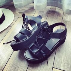 Vogue Lace-Up Women Sandals,Soft Leather Fashion Ladies Footwear,Open Toe Flat With New Stylish Punk Shoes,Breathable Rome Shoes