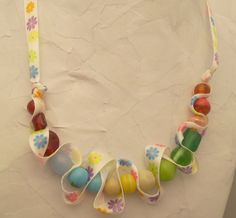 Rainbow colors bead and ribbon necklace Flower by AlyxAndreaDesign, $16.00