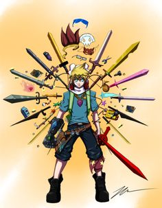 Finn the Human and Swords -Adventure Time Adventure Time Finn, Adventure Time Cartoon, Abenteuerzeit Mit Finn Und Jake, Character Art, Character Design, Adveture Time, Finn The Human, Jake The Dogs, Fantasy Weapons