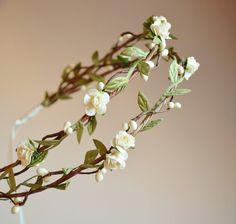 Boho bridal crown flower hair wreath woodland by gardensofwhimsy, $65.00