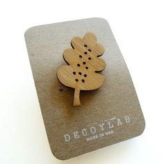 Decoylab.  #cute #art #handmade #wood  #jewelry #brooch #pins