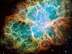 The Crab Nebula was a star once. It exploded as a supernova in 1054, and was so bright that it was visible during the day for 23 days and at night for two years. At its center is the Crab Pulsar: a rapidly spinning neutron star.