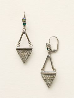 Crystal Triangle Drop Earring in Viridescence by Sorrelli