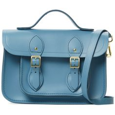 """The Cambridge Satchel Company Women's Small Leather 11"""" Satchel - Blue ($109) ❤ liked on Polyvore featuring bags, handbags, blue, leather handbags, blue satchel handbags, leather purses, genuine leather purse and satchel handbags"""