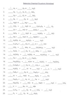 Worksheets Balancing Chemical Equations Worksheet 1 Answer Key balancing equations worksheet 1 20 delwfg com new html5 chemical simulation how do you