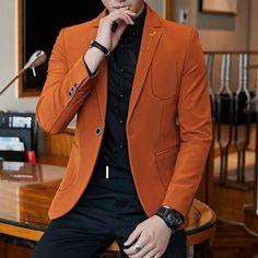 Brand Elegant Men Blazer 2019 Orange Black Mans Casual Blazer Slim Fit Masculino Single Button Mens Vintage Blazers Jacket Informations About Men's Suit Jacket - top.suzysfashion Pin You can easily us Orange Blazer Outfits, Casual Blazer, Blazers For Men Casual, Blazer Outfits Men, Mens Fashion Blazer, Casual Outfits, Mens Party Wear Blazers, Mens Blazer Styles, Mens Casual Suits