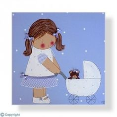 Cuadro infantil Niña con un cochecito de bebé