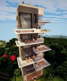 Minecraft Villa, Minecraft World, Architecture Minecraft, Modern Minecraft Houses, Minecraft House Plans, Minecraft House Tutorials, Minecraft Houses Blueprints, Minecraft Room, Minecraft Tutorial