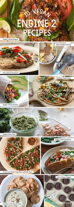10 Vegan Recipes for Healthier Eating // Fiesta Burgers // Kale Pesto // Engine 2 Baked Potato // Engine 2 Fiesta Burritos // Hummus Veggie Pizza // Good Luck Whole Wheat Pizza with Kale Pesto // Super-Healthy Sundae // Hummus with Popped Crisps // Kale-Almond Bruschetta // Cocoa-Peanut Cookies