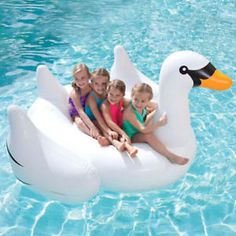 White Summer Swimming Pool Child Giant Rideable Swan Inflatable Float TOY | eBay