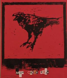 Linocut of 'Mon Coeur Beau' crow by Guy Denning.Hand cut and pulled by the artist.Each print individually finished with collaged text.Printed in black on 160 gms red Canson pastel paper.Sheet size 250mm x 325mm.Edition of 50, each blind-stamped, signed and numbered.