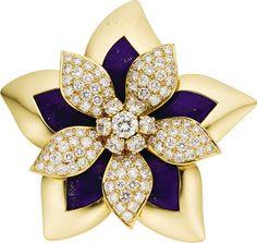 Lot: 46607: Diamond, Gold Flower Brooch, Van Cleef