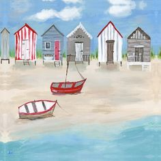 Illustrative Beach Huts Canvas - Hannah Cole