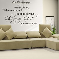 Do For The Glory Of God Inspirational Religious Bible Wall Quote Decal Vinyl Decor Art Sticker (Custom, Large) Geckoo