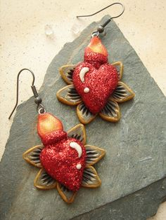 Sacred Heart Earrings 2 by mariesegal on Etsy, $25.00-Marie has such a big heart, no pun intended...