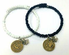 Zodiac Lotus Beaded Coil Bracelet Zodiac Charms Personalize Astrology Charms