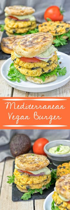 Mediterranean Vegan Burger – patties with chickpeas and black olives, combined…