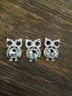 3 clear crystal owl  flatback embellishment by beautresorsupply, $6.50