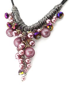 Grape Design Necklace with Cotton Cord