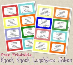 Printable Knock Knock Lunchbox Jokes