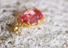 Princess Cut Pendant  Pink Rhinestone  Gold Toned by miriamMADLY