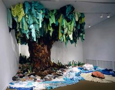beautiful sculpture made from recyled clothing <3