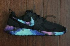 Nike Roshe Run Black Galaxy Swooshes and Sole Custom by NYCustoms