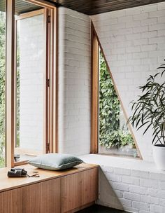 Knights' Brunswick West House Gets a Modern Renovation and Addition pin + insta // @ f o r t a n d f i e l d ♥ triangle window, wood paneling with white brickpin + insta // @ f o r t a n d f i e l d ♥ triangle window, wood paneling with white brick Brick Interior, Interior Exterior, Interior Design Kitchen, Modern Interior, Interior Ideas, Interior Styling, Exterior Windows, Wall Exterior, Bathroom Interior