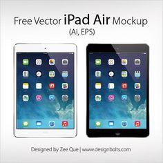 Free Vector Apple iPad Air Mockup in Ai & EPS Format
