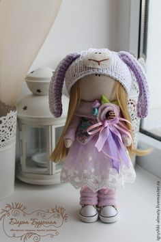 Купить Девочка барашка - сиреневый, куколка, интерьерная кукла, декор для интерьера, барашек, новый год 2015