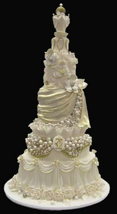 Specializes in custom cakes, wedding cakes, cupcakes, cookies and edible toppers for all occasions. White Wedding Cakes, Elegant Wedding Cakes, Elegant Cakes, Beautiful Wedding Cakes, Gorgeous Cakes, Wedding Cake Designs, Pretty Cakes, Amazing Cakes, Gold Wedding