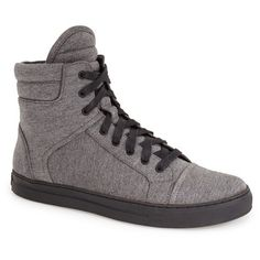 Kenneth Cole New York 'Double Over' ZipHigh Top Sneaker (€105) ❤ liked on Polyvore featuring shoes, sneakers, grey, hi tops, lace up sneakers, grey shoes, gray shoes and gray sneakers