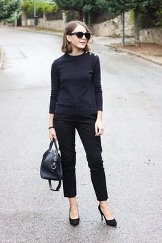 Discover this look wearing Black Marc Jacobs Sunglasses, Navy Louis Vuitton Bags, Black The Kooples Pants - Fall 2014 by toutlamode styled for Classic, Everyday in the Fall Ropa Louis Vuitton, Louis Vuitton Handbags, Vuitton Bag, All Black Outfit For Work, I Fall To Pieces, Marc Jacobs Sunglasses, Jeans With Heels, French Chic, Navy And Green
