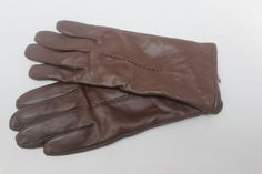 women's gloves genuine Brown LEATHER w/ black poly lining ONE SIZE #Unbranded
