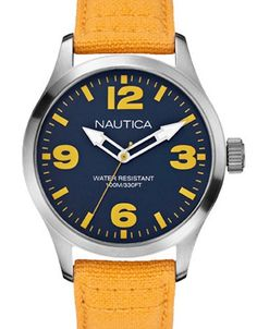 Only 16 available of this Nautica beauty discounted from now for functional modern watch with a blue dial and yellow strap. Popular Watches, Modern Watches, Omega Watch, Yellow, Blue, Accessories, Beauty, Watches, Beauty Illustration
